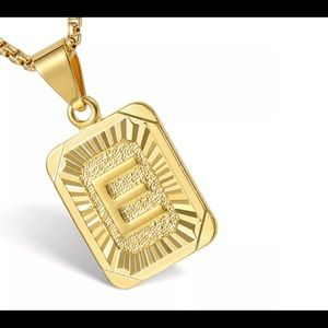 "Gold Filled Letter E Pendant 18"" Long Necklace"